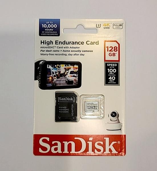 Sandisk High Endurance TF 128Gb 100MB/s U3 V30 高耐久度【含轉卡】SDSQQNR-128G-GN6IA 公司貨