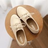平底單鞋女新款韓版百搭夏季小皮鞋女英倫風復古粗跟大碼女鞋聖誕交換禮物