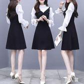背帶裙套裝秋季新款韓版氣質長袖雪紡衫 收腰背帶兩件套女 zm11032『男人範』
