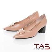 TAS方形金屬飾釦拼接粗跟鞋-質感卡其