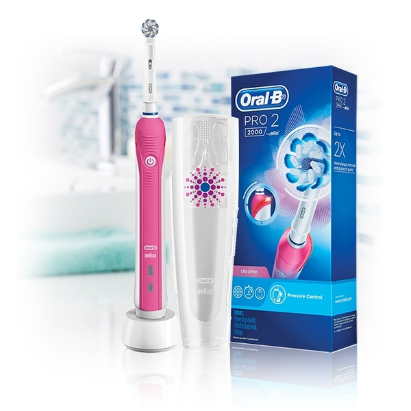 百靈歐樂B 3D電動牙刷Pro2000(粉紅色)