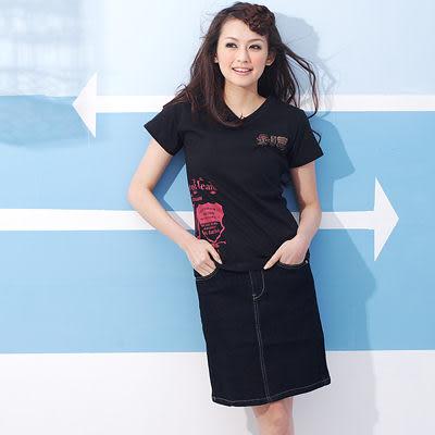 裙子--最顯瘦纖腿基本款無刷洗附銀色編織腰帶中低腰牛仔裙(S-6L)-Q36眼圈熊中大尺碼