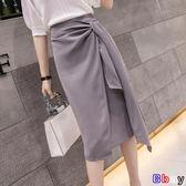 韓版綁帶不規則開叉高腰包臀裙中長款半身裙女