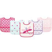 美國Luvable Friends 女寶寶 嬰兒防水吃飯圍兜兜 五件組 蜻蜓【LU02336】