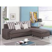 【森可家居】福斯L型咖啡色布沙發(三人座+收納型腳椅) 8ZX542-2 可拆洗