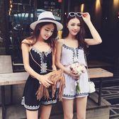 套裝抹胸連身褲女學生韓版寬鬆吊帶高腰寬管沙灘短褲 格蘭小舖