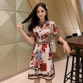 復古時尚印花中國風A字裙2019夏新款超仙網紅流行花色氣質連身裙