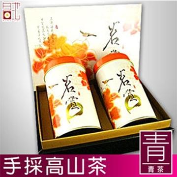【南紡購物中心】【名池茶業】高山茶手採茶葉禮盒-青茶清香款150克x2罐(茗賞款)附贈提袋x1
