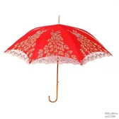 結婚紅傘創意蕾絲邊長柄傘女方陪嫁新娘傘大紅色婚禮雨傘婚慶用品怦然心動