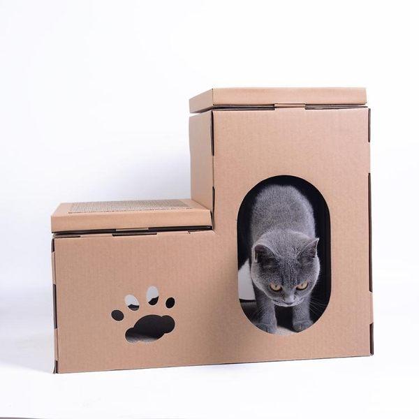 貓爬架 瓦楞紙貓爬架貓抓板階梯貓屋貓咪休息練爪貓玩具igo『BABY嚴選』