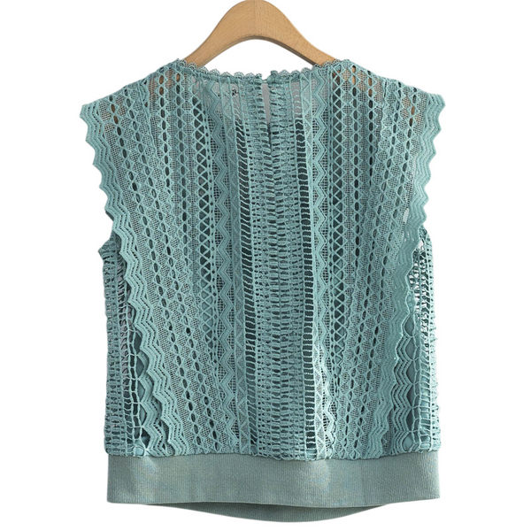 單一優惠價[H2O]水溶蕾絲拼接手臂顯瘦高質感蕾絲上衣 - 綠/黑/白色 #9685002