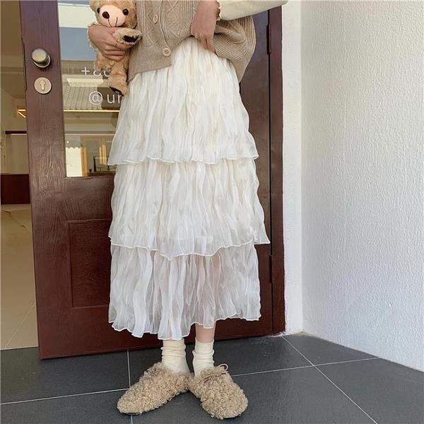 半身蛋糕裙女 很仙的洋氣高腰雪紡半身裙女秋季中長款裙子仙女裙顯瘦百搭蛋糕裙