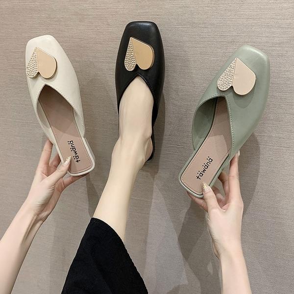 穆勒鞋 包頭半拖鞋女鞋粗跟平底外穿2021年春季新款時尚穆勒拖鞋女涼拖 小天使