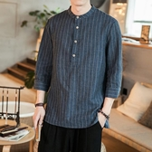 優一居 棉麻上衣男 復古條紋短袖襯衫上衣(2色 M-5XL)