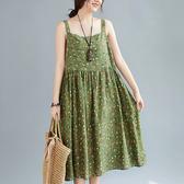 依多多 綠色小花清新無袖長裙 1色(均碼)
