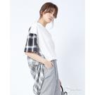 CANTWO拼接格紋長板短袖上衣-白色~春夏新品單一特價