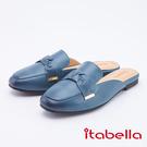 itabella.復古風-牛皮蝴蝶結拖鞋(9651-50藍色)