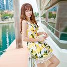 洋裝 韓版無袖高腰繫帶印花蓬蓬裙連身裙 S-XL #ynn6575 ❤卡樂store❤