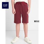 Gap男童 舒適柔軟純色鬆緊腰休閒短褲 260562-寶石紅
