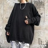 秋季韓版ins暗黑破洞長袖針織衫上衣寬鬆薄款圓領套頭毛衣男女潮 時尚芭莎