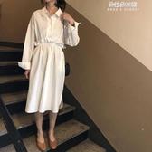 氣質白色花邊襯衣裙韓版寬鬆翻領側開叉收腰顯瘦中長款洋裝 朵拉朵