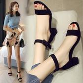 一字扣帶涼鞋女夏2020新款韓版百搭中跟粗跟仙女風羅馬時尚高跟鞋 一木良品