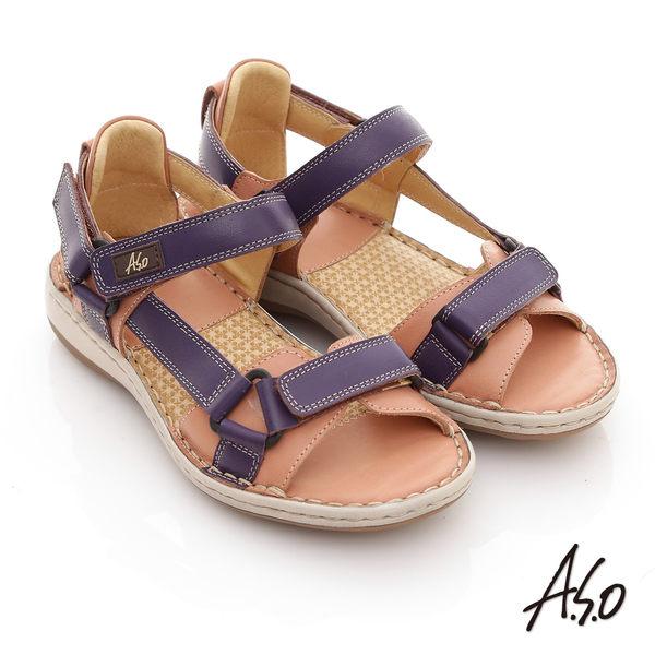 A.S.O 頂級氣墊 全真皮雙魔鬼氈奈米鞋墊涼鞋-紫
