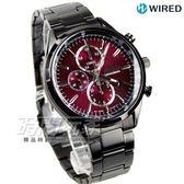 WIRED 經典前衛三眼計時腕錶 防水男錶 IP黑電鍍x紅 AY8017X1 7T92-0SM0R
