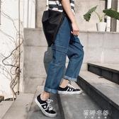 牛仔褲牛仔褲男潮ins韓版潮流學生寬鬆直筒多口袋bf工裝原宿風網紅褲子
