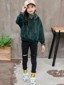 女童金絲絨衛衣2018新款秋冬裝韓版中大童洋氣外套連帽上衣潮