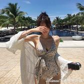 泳衣 韓國新款三角連體游泳衣女性感復古繫帶遮肚顯瘦小胸聚攏保守溫泉  艾美時尚衣櫥