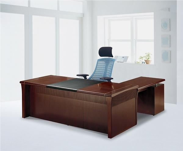 HY-540-1   8891豪華優質全木皮L型 主管桌-7尺-胡桃木色-整組