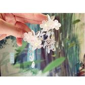 兒童古風發飾女孩漢服花朵流蘇對夾女童清新可愛發夾頭花超仙6-10