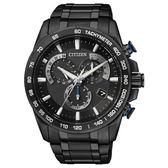 CITIZEN 逆光飛翔電波鈦金屬腕錶(全黑)