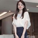 白色雪紡襯衫女2021年夏新款短袖氣質上衣寬松顯瘦短款泡泡袖襯衣 快意購物網