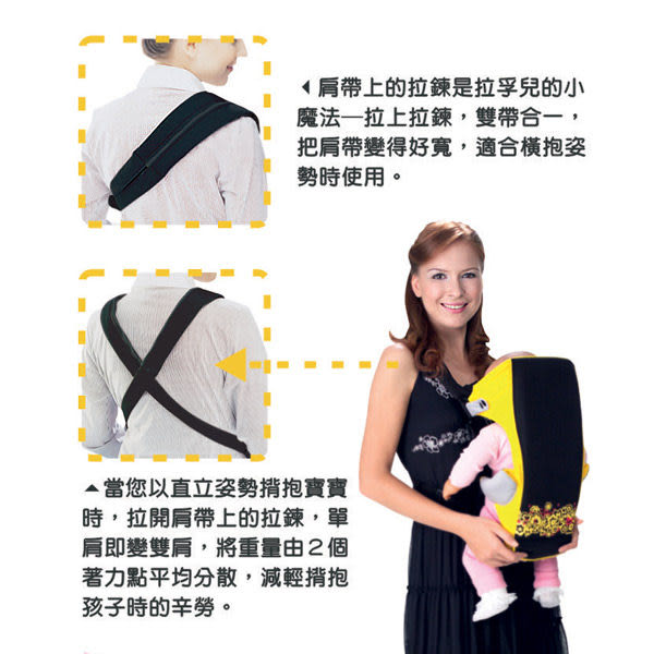 【奇買親子購物網】拉孚兒 naforye 新時尚嬰兒揹巾(黃/粉/藍)