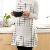 圍裙 日式簡約棉麻圍裙男女情侶廚房做飯防油圍腰時尚無袖成人家居罩衣歐萊爾藝術館