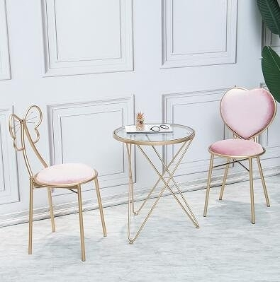 主圖款一桌兩椅北歐粉色網紅梳妝椅玻璃鐵藝茶幾客廳邊幾咖啡廳奶茶店桌椅-J