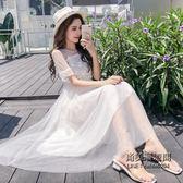 裝正韓淑女氣質立體花朵短袖連身裙女收腰超仙網紗裙i miss裙子