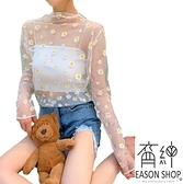 EASON SHOP(GW6372)實拍百搭滿版小雛菊印花透視薄款長版圓領長袖紗網罩衫防曬衫女上衣服閨蜜裝粉黃