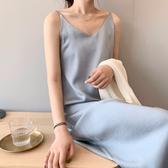 素面連身裙長洋裝緞面細肩帶背心婚禮穿搭藍杏黑色[C7171]預購滿額送愛康衛生棉.朵曼堤洋行