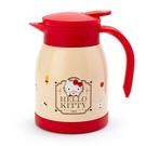 〔小禮堂〕Hello Kitty 單耳旋轉蓋不鏽鋼茶壺《米紅.下午茶》600ml.水壺.咖啡壺 4901610-49650