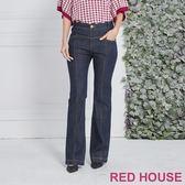RED HOUSE-蕾赫斯-花瓣造型直筒牛仔褲(深藍)