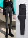 高腰牛仔褲女2020年秋冬新款冬季煙灰色緊身小腳加絨顯瘦褲子收腹 童趣潮品