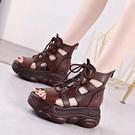 2021夏季新款洞洞涼靴系帶高跟羅馬女鞋厚底民族風媽媽涼鞋復古靴 快速出貨