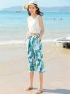 寬管褲女夏小個子胖mm大碼旅游海邊度假棉綢七分九分褲印花沙灘褲 果果輕時尚