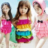 泳衣女孩女童小公主可愛連體溫泉寶寶游泳衣