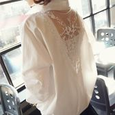 【新年鉅惠】大碼襯衫女長袖中長款性感蕾絲露背寬鬆