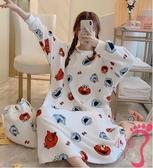 法蘭絨可愛卡通芝麻街寬鬆大碼長睡裙睡衣女秋冬珊瑚絨學生家居服