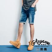 單寧短褲 水波紋反白研磨刷色彈力牛仔短褲【LPA01】青山AOYAMA